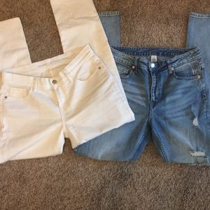 Pants - Old Navy White Jeans and &Denim Jeans